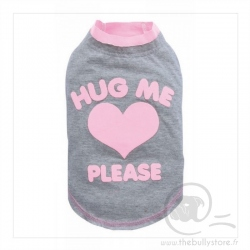 T-shirt gris/rose HUG ME