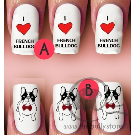 Decal / Stickers ongles Bouledogue francais 7