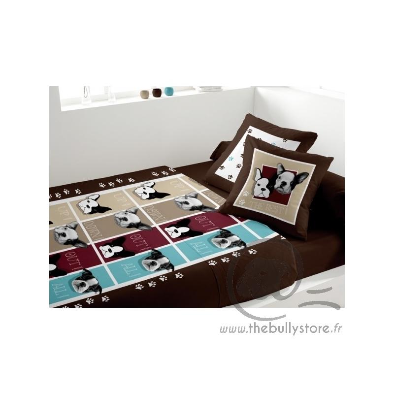 parure de lit bouledogue chocolat. Black Bedroom Furniture Sets. Home Design Ideas