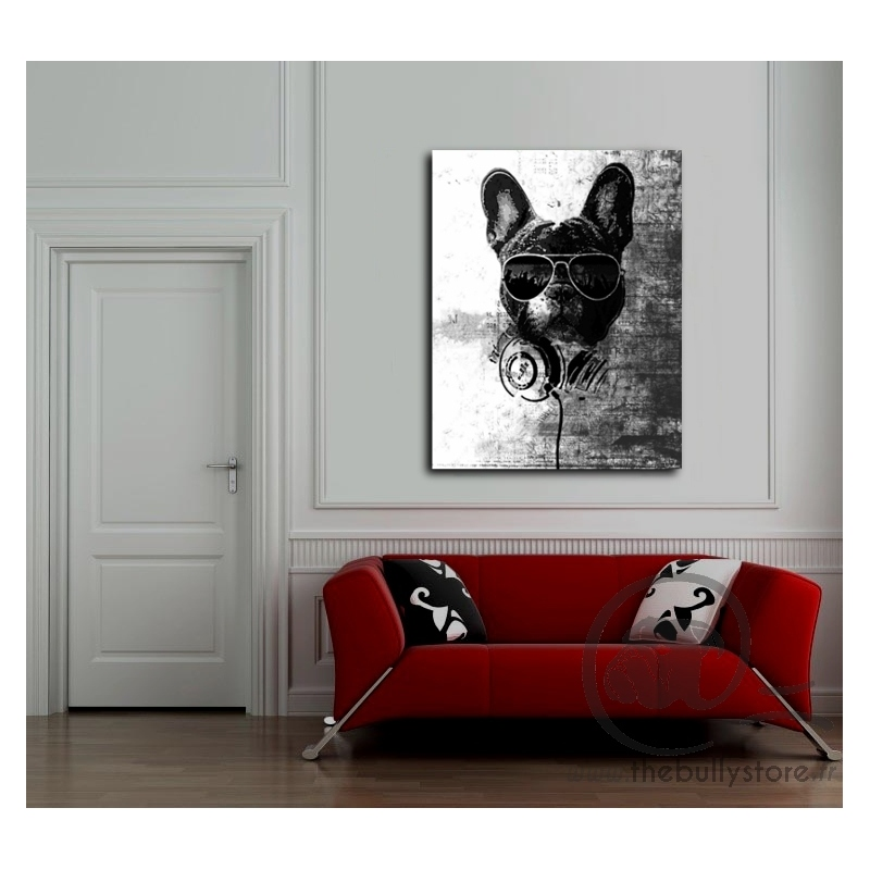 toile bouledogue francais dj. Black Bedroom Furniture Sets. Home Design Ideas