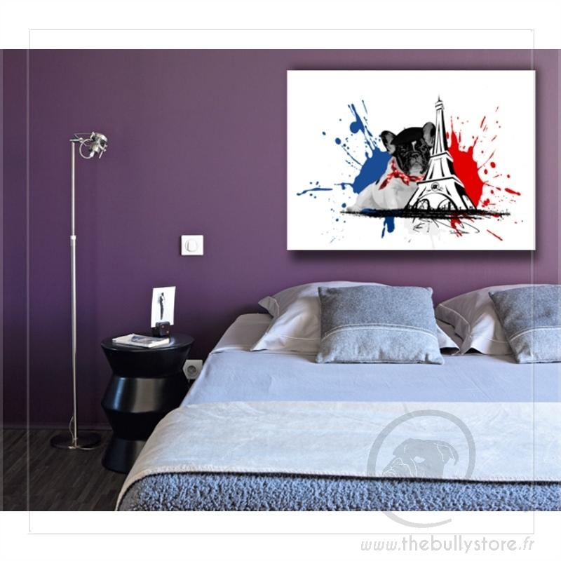 toile bouledogue francais beret. Black Bedroom Furniture Sets. Home Design Ideas